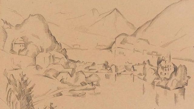 Bleistiftzeichnung eines Dörfchens an einem See