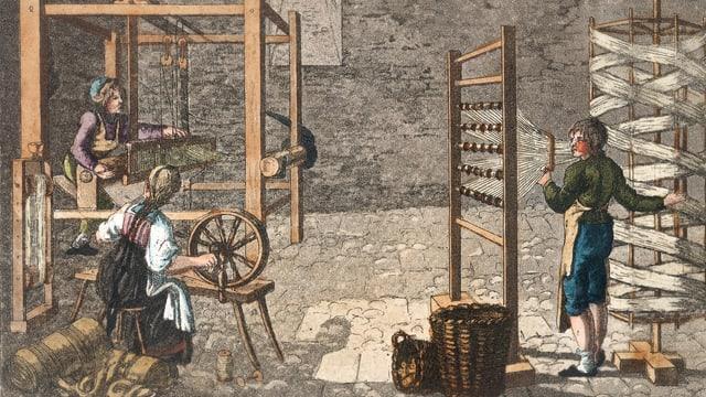 Bereits 1850 arbeitete mehr als jeder zweite Glarner in einer Textilfabrik.