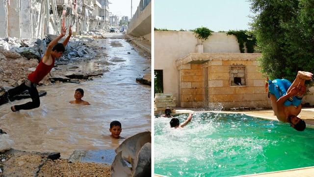 Fotocollage. Ein Bild zeigt, wie Buben in einem mit Regenwasser gefüllten Bombenkrater baden. Das andere Bild zeigt Buben, die in einen Swimmingpool springen.