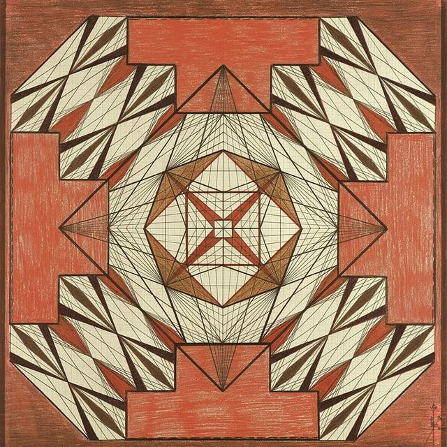eine Zeichnung einer farbigen geometrischen Form