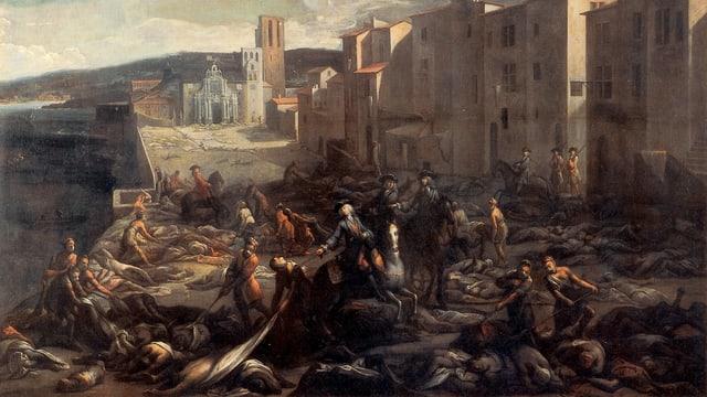 Ein historisches Ölgemälde zeigt eine Szene mit Todesopfern der Epidemie bei Marseille um das Jahr 1720.