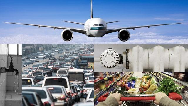 Bildkombi mit einem Flugzeug, Verkehr, einem Heizkörper, einem Einkaufswaegn und einem tropfenden Wasserhahn