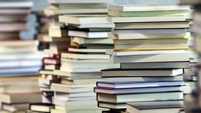 Bücher stapeln sich.