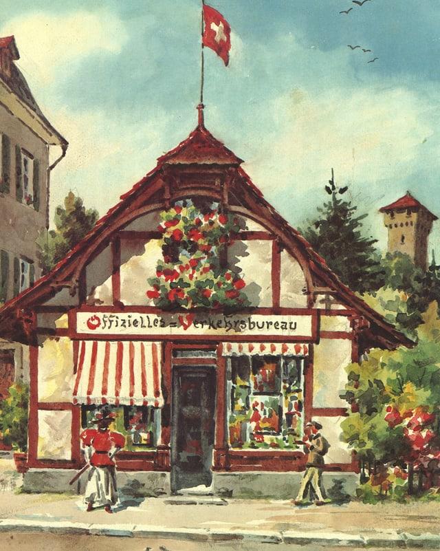 Bild von 1895 des ersten Tourismusbüros der Stadt Luzern.