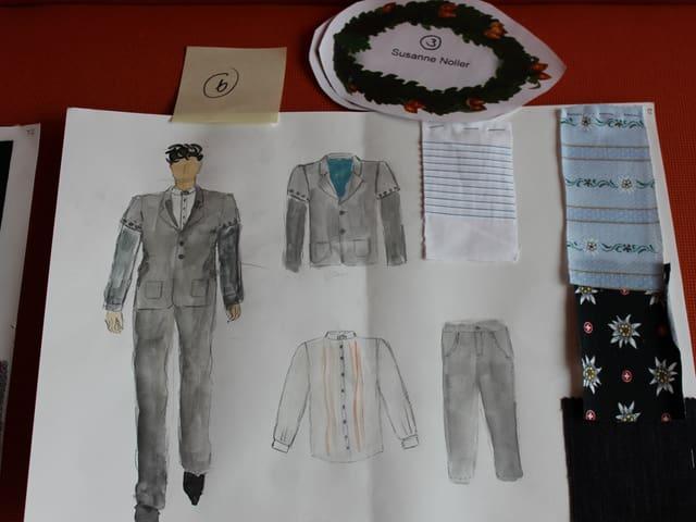 «Der Legere»: Jacket und Hosen aus dunklem Jeansstoff.