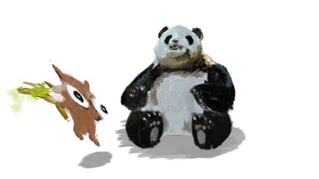 Ein gemalter Panda sitzt in der Mitte; ein gemaltes Eichhörnchen hopst um ihn herum.