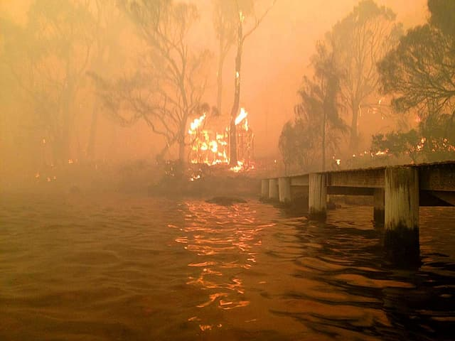 Brennender Waldrand am Ufer eines kleinen Sees mit Steg.