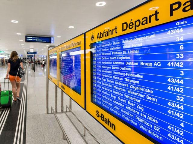 Abfahrtentafel Zürich Hauptbahnhof
