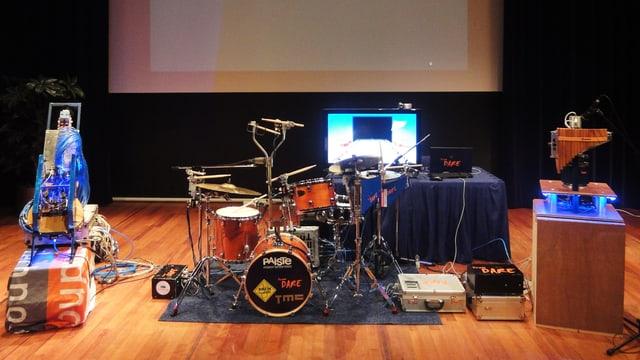 Eine Band, die nur auf Instrumenten und Computern besteht.
