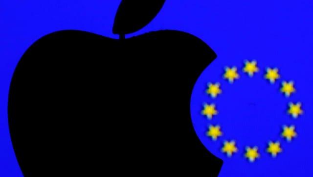 Logo von Apple und die Sterne der EU.