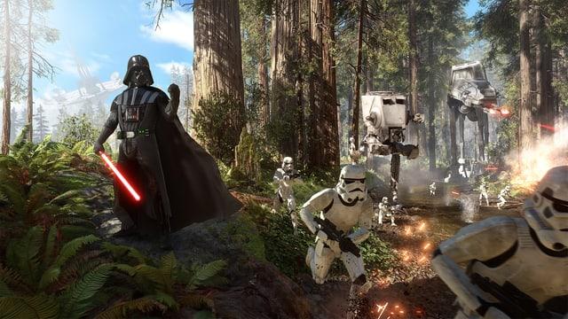 Der Bösewicht hilf AT-STs und Stormtroopern beim Kampf im Wald von Endor.