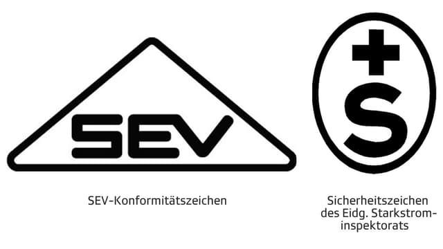 Prüfsiegel SEV und S+.