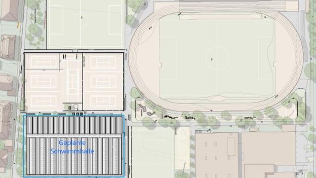 Plan mit Anordnung von Sportfeldern.