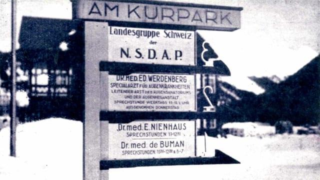 Schild der NSDAP Landesgruppe am Kurpark Davos.