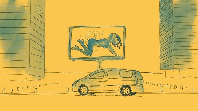 eine Illustration einer Strasse, mit einem Auto und einem Plakat einer halbnackten Frau