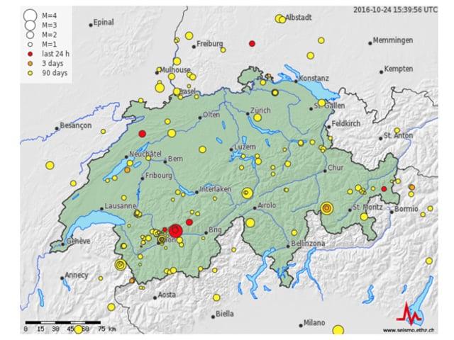 Karte der aktuellen Erdbeben in der Schweiz.