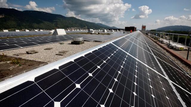 Bild vom Dach des Migros-Verteilers in Neuendorf/AG mit Solarpanels, so weit das Auge reicht.