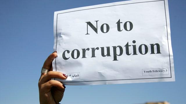 Eine weibliche Hand hält ein Papier, darauf steht No to corruption.