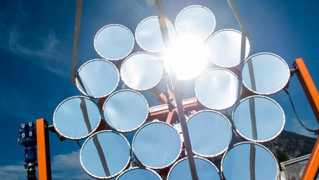 spezielle Solaranlage mit reflektierenden Spiegeln