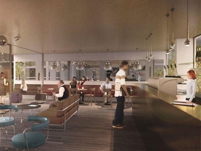 Visualisierung des Lounge- und Bar-Bereichs in der umgebauten Jugendherberge.