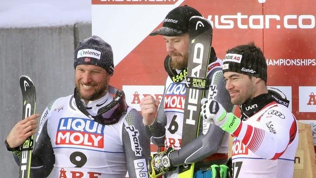 Kjetil Jansrud, Aksel Svindal e Vincent Kriechmayer.