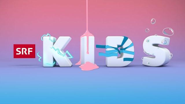 Das Logo des Youtube-Kanals SRF Kids. Das Buchstaben des Worts KIDS sind grau, eingepackt in Geschenkpapier, bruzzeln mit Elektrizität oder sind mit Seifenblasen behaftet.