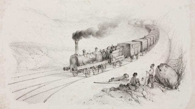 eine schwarz-weiss Zeichnung einer Eisenbahn