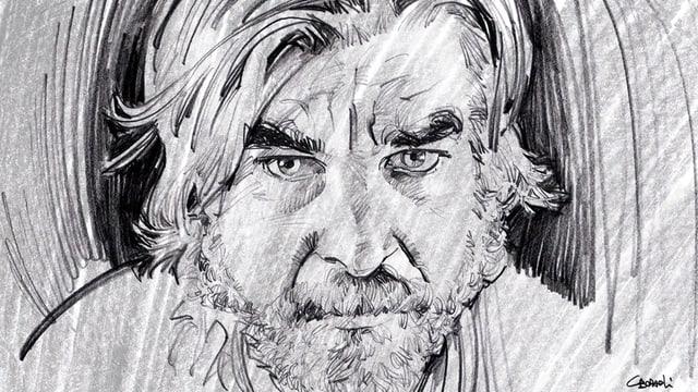 Bleistiftzeichnung: Knausgård mit ernstem Gesicht