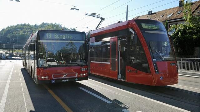 Ein Bus und ein Tram stehen nebeneinander.