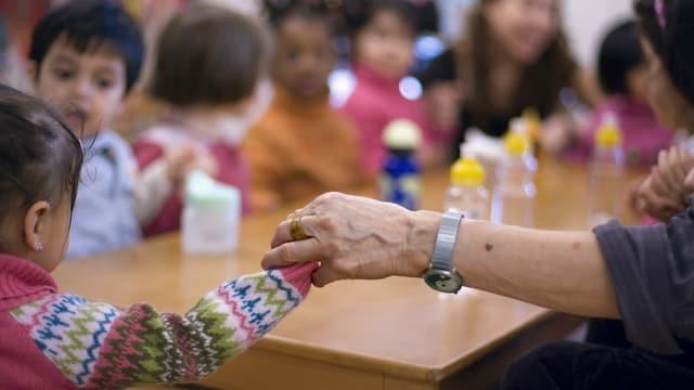 Erwachsene Person hält Kind an der Hand