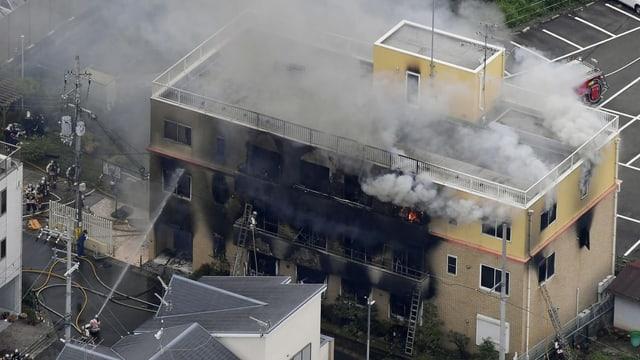 Blick von oben auf das braune Animationsstudio. Aus dem Studio steigt Rauch aus, man sieht noch kleine Flammen.