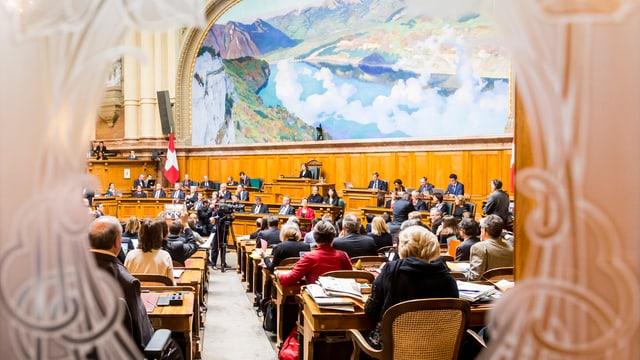 Blick von der Wandelhalle in den Nationalratssaal.