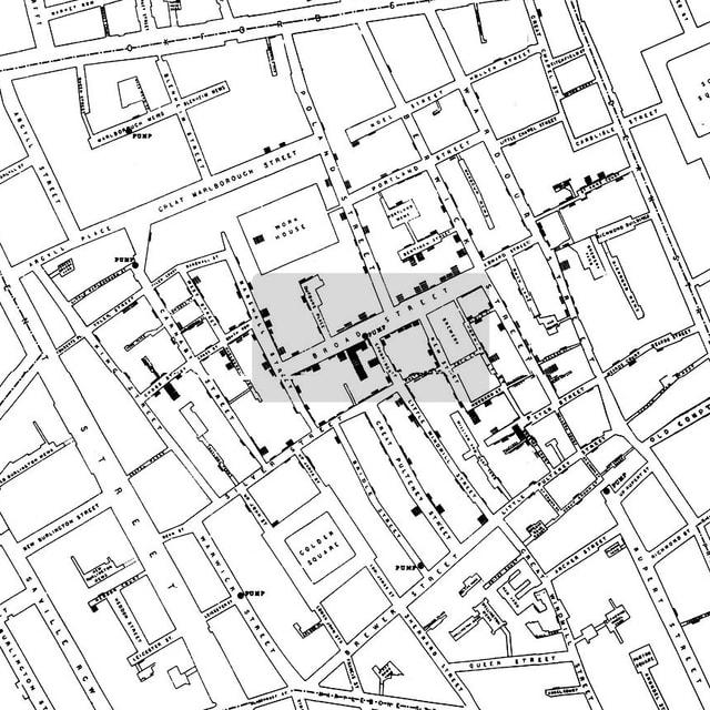 Die Cholera-Karte des Arztes John Snow.