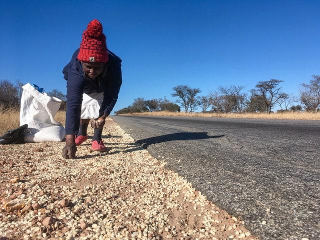 Glück gehabt: Craina Mukundwi findet Maiskörner, die ein Transporter verloren hat.