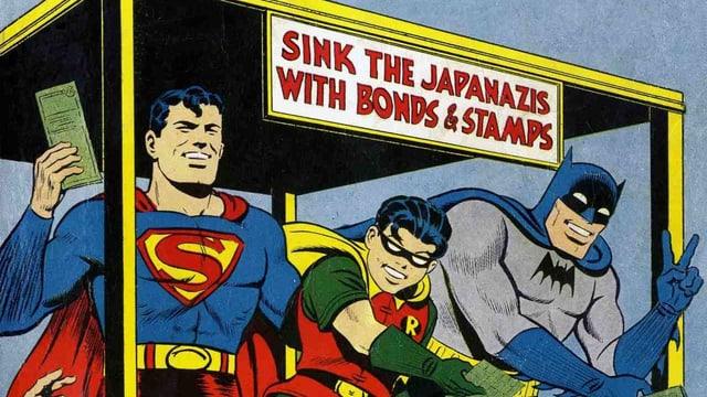 Superman, Batman und Robin verkaufen Kriegsanleihen.