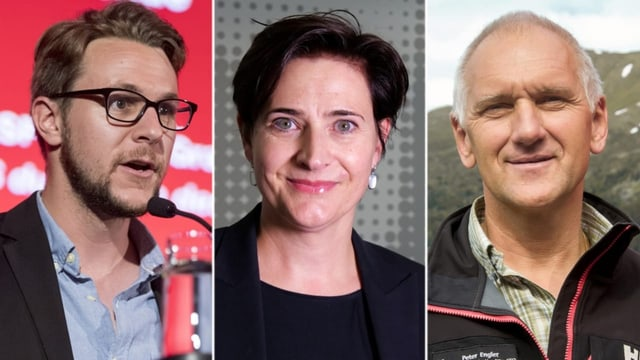 Philipp Wilhelm (PS), Valérie Favre Accola (PPS) e Peter Engler (PLD) candideschan per l'uffizi da landamma da Tavau.