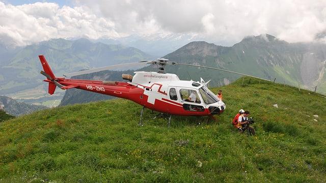 Helikopter auf Wiese