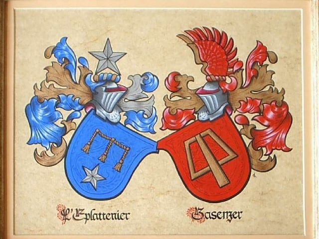 Wappen auf Tablett