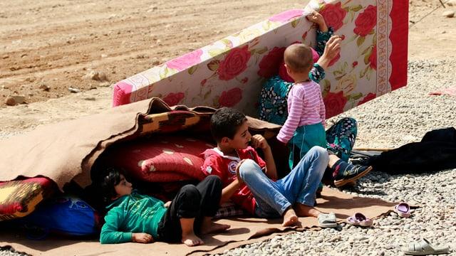 Syrische Flüchtlinge versuchen sich in einem Flüchtlingslager mit Karton gegen die Sonne zu schützen.