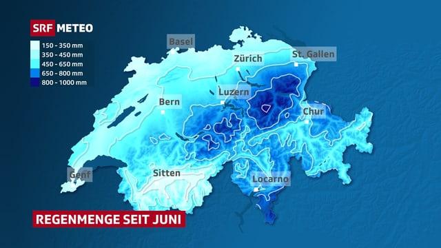 Die Schweizerkarte zeigt in bläulichen Farben wo wieviel Regen gefallen ist. Die zentralen und östlichen Voralpen sowie das Südtessin stechen dabei hervor. In diesen Regionen viel am meisten Regen.