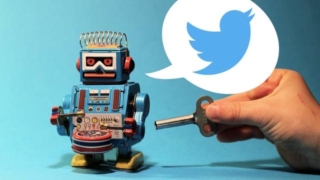 Eine Hand steckt einen Schlüssel in einen mechanischen Roboter, der dabei tweetet.