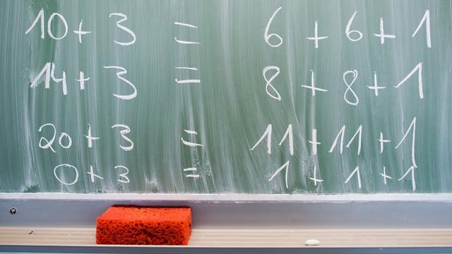 Wandtafel mit Berechnungen.