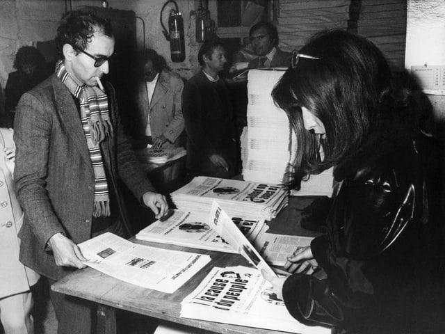 Godard in der Druckerei des Journals «La cause du peuple», hier am 6.11.1970.