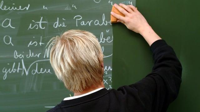 Ein Lehrer putzt die Tafel