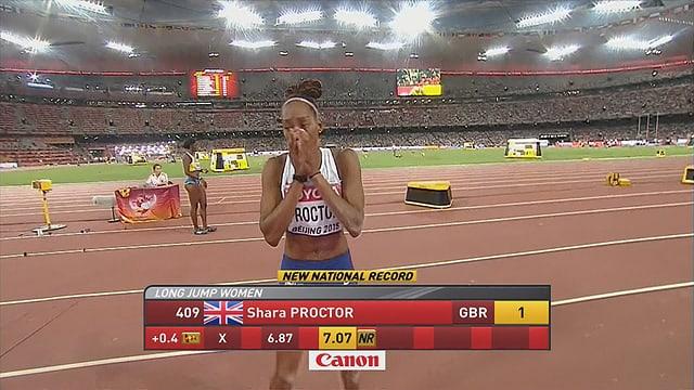Proctor freut sich über ihre Leistung.