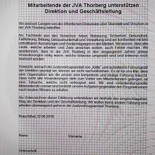 Brief, der an die Mitarbeitenden ging.