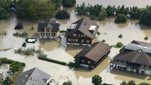 Bild von einem überschwemmten Gebiet in Sarnen.