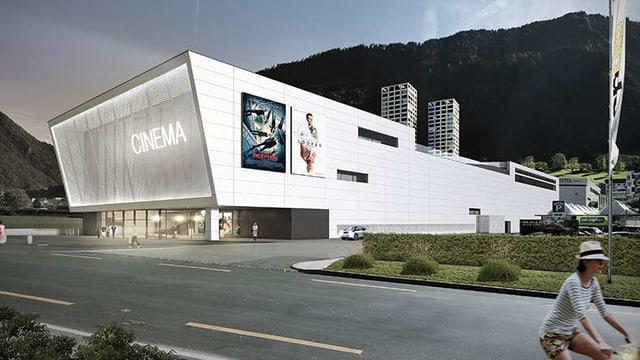 Visualisierung des Kinos, ein modernes, weisses Gebäude.