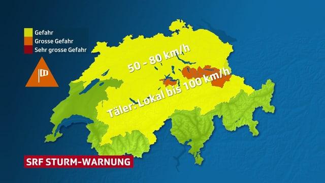 Schweizerkarte mit Windwarnungen. Viele Regionen sind gelb, Stufe 1.