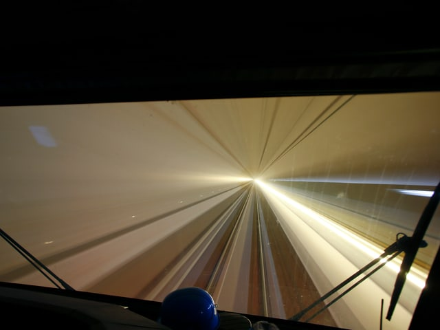 Blick in den 57-km-langen Gotthard-Basistunnel.